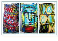 Urban triptych (madmtbmax) Tags: travel street art barrel artistic creative kunst artist painting graffiti graphiti bunt colourful colours vivid arte french france marseille community old city scene alley triptych triptyk collection sammlung
