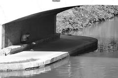 Under the brigde (Carandoom) Tags: black white noir et blanc toulouse 2017 reflection people personne bridge pont jour sunny