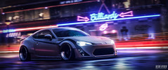 Neon Ryder (Nux Creative Works) Tags: crowned needforspeed nfs2015 neon lights stancenation stanceworks scion frs toyota gt86 subaru brz rocketbunny pandem widebody motion wet night midnight