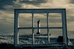 Look Through Any Window... (jah32) Tags: windows window inthewindow beach beaches atthebeach light lightroom shore shoreline portbruce ontario canada autumn clouds sky water lakeerie lake lakes greatlakes thegreatlakes monochromatic monochrome blackandwhite blackwhite bw cmwdbw