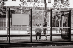 waiting for the tram (Gerard Koopen) Tags: nederland netherlands denhaag thehague bw blackandwhite blackandwhiteonly straat street straatfotografie streetphotography candid people waiting tram nikon d810 2017 gerardkoopen