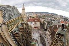Vienna from St. Stephen's Cathedral (Karen_Chappell) Tags: vienna city austria travel church architecture ststephenscathedral urban cityscape fisheye canonef815mmf4lfisheyeusm wideangle skyline europe high buildings people sky clouds