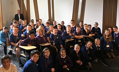 With P7 pupils from Sanderson's Wynd primary school