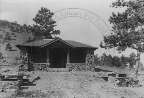 Photo - View of the former Stone Shelter on Flagstaff Mountain (1920).
