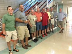 Saturday Sep 23 2017 1977 morning classmates touring good old AHS for 40th reunion reinacting sitting on the rail at AHS in the main lobby. L to R: Bob Wilson, David Litchfield, ?, David Pope, Kevin Michael Snyder, David Dave Sherman 2nd from far right an (ameshighschool) Tags: bobwilson davidlitchfield davidpope kevinmichaelsnyder davesherman brianbuck ameshighclassof1977 ahs1977 1977ahs ameshighschool amesiowa 1977 2017sep 1977ahs40 40yearreunion 40th reunion ahs ahsaa wwwameshighorg