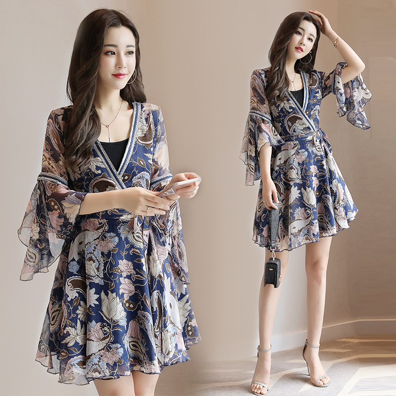 Floral Chiffon dress female 2017 new summer fashion Korean thin V collar long skirt sleeve