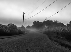 No Outlet (Cheryl Atkins) Tags: isolation maryland fujixt2 roadphotography rural blackandwhite series project fog