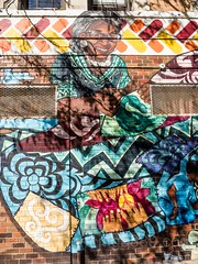 Community League of the Heights Mural, Washington Heights, New York City (jag9889) Tags: woman mural usa 2017 wall text washingtonheights manhattan newyorkcity league newyork graffiti 20171028 community jag9889 outdoor ny nyc painting streetart tagging unitedstates unitedstatesofamerica wahi us