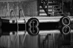 Pair of 8s (Scott D. Thornton) Tags: water river dock wood ontario reflections blackandwhite