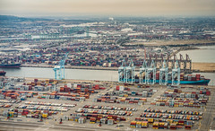 Gloom (PhotonLab) Tags: industrial port long beach consumer goods import export harbor china industry economy economic aerial photography shot from above airplane cessna sony a7ii la lbc cargo container ship shipping shipyard corner