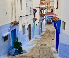 The Woman and the Cat (Alex L'aventurier,) Tags: chefchaouen maroc morocco villebleue woman femme street rue candid cat chat doors portes médina medina urban urbain bleu blue