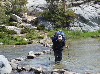 Pam Crossing the Middle Fork