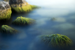 Rocks in Water (Sean Anderson Media) Tags: lakegeneva wisconsin longexposure sonya7sii canonfd50mmf18 fullframe 50mm primelens canonfd fotodiox ndthrottle variablendfilter 30secondexposure reflection motionblur blur rocks lake lakeside shore water seaweed clouds mountains