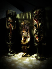 Savi Masks (Steve Taylor (Photography)) Tags: papuanewguinea art sculpture carving dark scary creepy eerie frightening spooky weird strange wood city asia singapore shadow gardensbythebay shell dappled