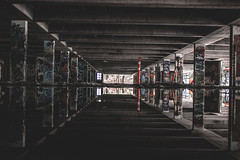 Reflection - Parkade (EricReamPhotography) Tags: street streetphotography instagram instagramer urban urbex explore exploring exploration hellobc explorebc ericreamphotography surrey bc ishootraw ig weekends photography canon t3i rebel 1855mm abondon places old parkade vancity vancouver vancouverbc moody create canada graffiti brithishcolumbia tone tones symmetrical dark black shadow lowlight reflection reflections puddle water