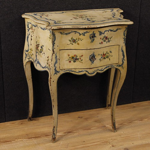 French lacquered and painted side table with floral decorations