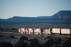 This westbound Santa Fe was at West Pegs, NM on October 28, 1994 (railfan 44) Tags: atsf santafe