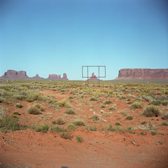 (patrickjoust) Tags: tlr twin lens reflex 120 6x6 medium format c41 color negative film manual focus analog mechanical patrick joust patrickjoust navajo nation southwest usa us united states north america estados unidos rural country high desert rock monument valley old sign outline fence arizona utah az ut