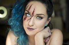 Halloween #2 (Paula Darwinkel) Tags: halloween scary horror blood cuts scars portrait beauty glamour face woman blue eyes hair