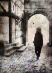 i live through you . . . (YvonneRaulston) Tags: surreal bamberg germany europe atmospheric art birds creativeartphotography calm dream emotive texture peaceful people person fineartgrunge soft girl photoshopartistry lady moody moments old sony street ally arch hat