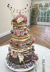 Naked Fruit & Roses 4-Tier Wedding Cake