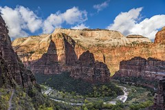 *Zion @ impressions* (albert.wirtz) Tags: albertwirtz zion zionnationalpark hiking wandern usa unitedstates vereinigtestaaten america nordamerika landscape natur nature canyon angelslanding observationpoint wanderweg trail hike virginriver utah stream riverbend virginriverbend water fall autumn herbst usasouthwest utahhiking clouds sky bluesky americanlandscape utahlandscape nikon d810 nationalparktraveller zionnps ourplanet