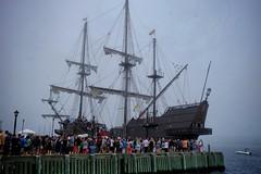 Jack Sparrow, where are you? (halifaxlight) Tags: canada novascotia halifax tallships pirateship replica crowds misty harbour sea dock elgaleon galleon