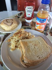 Egg and Cheddar an homemade toast, with hash-browns and a cinnamon roll. (trumpeterny) Tags: cinnamon roll toast egg hash brown hashbrowns orange juice heinz ketchup oceanspray bakery restaurant breakfast massena ny