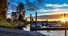 Ramping down (Christie : Colour & Light Collection) Tags: marina boats sundown river bc canada moored mooring pittmeadows britishcolumbia boatramp sun sunlight sunny evening romantic romancing gangway docks dock wharf clouds sky
