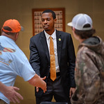 Legislative intern and political science major Christian Jones greets visitors at the General Assembly in Raleigh.