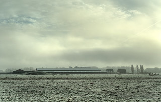 Farm in the mist.