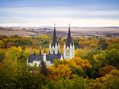 Nestled In Autumn (DeVaughnSquire) Tags: medicinehatalberta canada medicinehat autumn fall orange colours colors landscape scenic scene trees urban city church steeples green yellow leaves turning seasons prairies