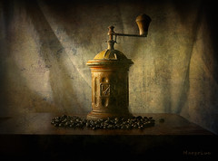 Ancient Coffee Mill ... (MargoLuc) Tags: coffee mill vintage natural soft window light wooden table beans dark stilllife texture skeletalmess indoor