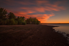 Dawn, Lake Chatfield (mclcbooks) Tags: sunrise dawn daybreak morning landscape lake clouds le longexposure trees beach shore chatfieldstatepark lakechatfield colorado fall autumn bird