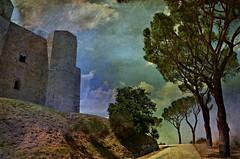 Il reale e l'immaginario (Aránzazu Vel) Tags: castle castillo castello casteldelmonte puglia apulia italia landscape paesaggio paisaje textura texture camino strada arbol campo countryside immaginario