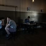 Pensive Coffee Shop Patrons