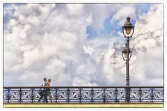 Postcard from Paris-12 (Sally Harmon Photography) Tags: mont alexandre iii bridge paris france 2017 white clouds walking ornate blue sky summer candelabra