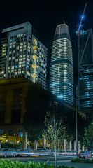 ubba park towers (pbo31) Tags: sanfrancisco california night dark color nikon d810 city urban boury pbo31 october dall 2017 lightstream motion traffic roadway street financialdistrictsouth salesforce construction 181fremont crane panoramic large stitched panorama black beale