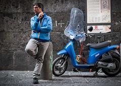Azzuro (XBeauPhoto) Tags: italian italy oct2017 blue candid cigarette italia motorcycle naples napoli smoking streetphoto streetphotography