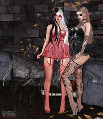 . Kiim&Danna . #TRUTH #Catwa #GlamAffair #Aii #SU #VinCue #CandyDoll #Bossie (Crayolas Clothes) Tags: dress sparkles blood vincue aii truth glamaffair candydoll danna kiim black red cementery halo eyepartch glow halloween