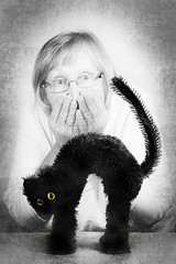 Uh-Oh (Explored) (lclower19) Tags: cat black badluck 4352 522017 white bw selfie selectivecolor toy feline grey odc explored