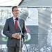 Rétvári Bence, az Emberi Erőforrások Minisztériuma parlamenti államtitkára, a KDNP alelnöke mond beszédet  a Pest megyei Rádon, a helyi hősök tetteire emlékeztető büszkeségpont avatásán