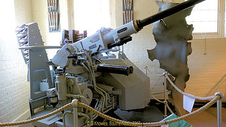 40mm Bofors gun inside the Explosion Museum, one of the attractions at the Portsmouth Historic Dockyard in September 2017, Gosport, Hampshire, England.