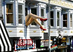 San Francisco.  Legs Hanging Out The Window. (Bernard Spragg) Tags: piedmontboutique barryforman sanfrancisco urban street lumixfz1000 sight seeing hoponhopeoffbus sexylegs clevercreativecaptures