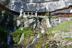Waterfall of the cave (Carandoom) Tags: 2017 suisse switzerland water eau waterfall cascade chute deau castle chateau montagne mountain paysage bâtiment