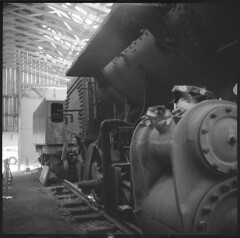 Empire state railway museum, NY, Engine No. 23, 2-8-0, steam locomotive, 1910 (Sergei Prischep) Tags: voigtländer superb 1934 75cm f35 skopar fuji neopan acros100 d76 120 film engineno23 280 steamlocomotive 1910 6x6 voigtländersuperb
