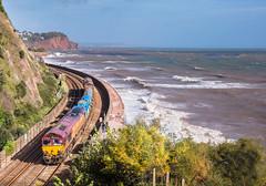 At the edge of Ophelia..... (Rails West) Tags: class66 ews66 locations rhtt tnt teignmouth seawall 66074 3j13 skewbridge ophelia