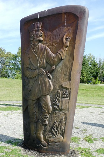 Gaspe Gaspe The Cast Iron Monuments represent the history of Jacques Cartier with the Iroquois Nation of Stadacona