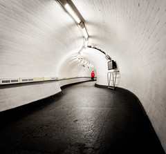 Tunnel Vision (Peter Murrell) Tags: tv television tube tunnelvision londonunderground tunnel foottunnel oldstreet person walking commuter commuting woman