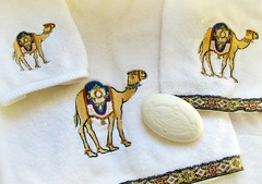 New towels with camels and soap from Italy - it's the Little Things.... (Bennilover) Tags: towels camels camel dromedarycamel soap soaps imported italy scent yummy baths tubs littlethings